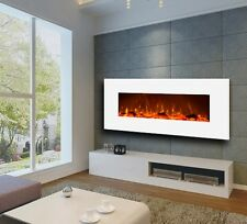 Large Electric Wall Mount Fireplace Modern Realistic Fire Flame Heater Radiator