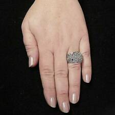 STERLING SILVER THREE ROSES RING SOLID .925 /NEW SIZE J-Y JEWELLERY