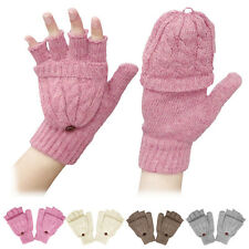 New Girls Ladies Winter Gloves Wool Cotton Casual Fingerless Work Gloves Mittens