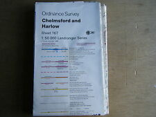 ORDNANCE SURVEY MAP CHELMSFORD & HARLOW SHEET 167 POWER LINE & OBSTRUCTION OVER
