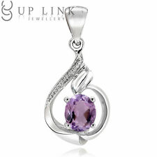 UP LINK Beauty Oval Aquamarine/Amethyst/Garnet 925 Sterling Silver Pendant