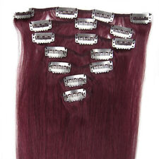 "15""-22"" 7 PCS 100% Remy Real Human Hair AAAAA Clip In Extensions #Bug Wine Red"
