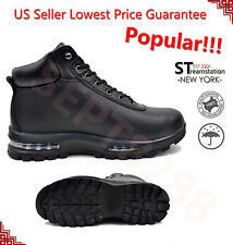 LABO Men's Black Hiking Winter Snow Boots Shoes Leather Air Heel Medium(D,M)5812