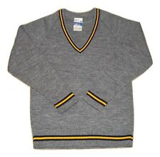 Unisex Style Grey Knitted Jumper With Gold And Navy Detailing