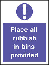 Mand0025 Place All Rubbish In Bins Provided Sign Sticker Health Safety Warning