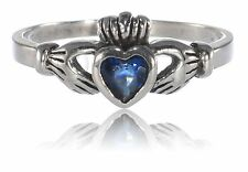 Blue Sapphire Celtic Heart Claddagh Cubic Zirconia Ring Sterling Silver