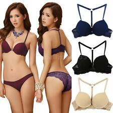Sexy Women's Bra Front Closure Y-line Straps Back Lace Padded Push up Bras B5FX