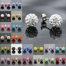 Muti-colours Sparkle Crystal Disco Ball 10mm Bling Stud Earrings Wedding Party