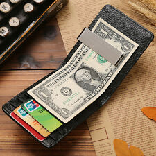 Unique Men Genuine Leather Silver Money Clip Slim Wallets ID Credit Card Holder