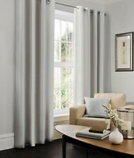 LUXURY FAUX SILK EYELET RING TOP PAIR FULLY LINED READY MADE CURTAINS SET SILVER