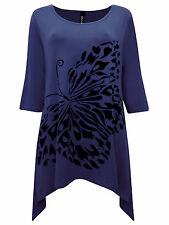 PLUS SIZE Ivans FLOCK BUTTERFLY Print Asymmetric Tunic Top NAVY Size 16 to 30/32