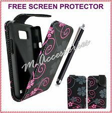 FLORAL FLIP PU LEATHER CASE COVER POUCH FOR MAJOR MOBILE PHONES + SCREEN GUARD