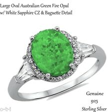 Large Oval Cut Green Fire Opal w White Sapphire Sterling Silver Ring Size 3 - 12