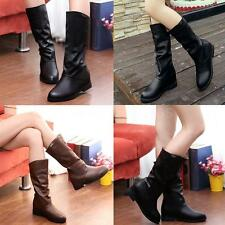 Women Ladies Boots Martin Wedge Heel Mid Calf Shoes Ladies Warm Casual Chic CW8D