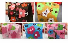 3 to 18m 16mm 1.6cm wide Flower Garden Printed Grosgrain Ribbon Pink Blue Brown