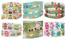 3m of 22mm 2.2cm Happy Easter Bunny Chick Bonnet Grosgrain Arts Crafts Ribbon