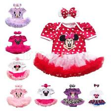 2PCS Minnie Romper Tutu Dress Headband Photo Birthday Outfits Baby Girl Clothes
