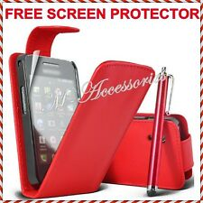 NEW RED FLIP PU LEATHER CASE COVER POUCH FOR ALL MAJOR MOBILE PHONES