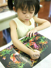 16K Colorful Scratch Art Paper Magic Painting Paper with Drawing Stick 10 Sheet
