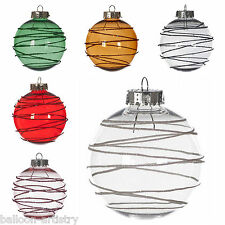 6 Deluxe Christmas Glitter Bands Clear Hanging Glitter Baubles Tree Ornaments