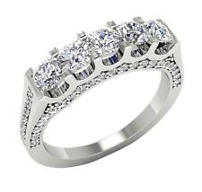 VS1/F Huge 1.75 Ct Round Diamond Jewelry 14Kt Gold 5 Stone Anniversary Ring Band