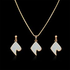 Classic style!18K Multi-Tone Gold white Simulated Diamond earring&pendant 18''