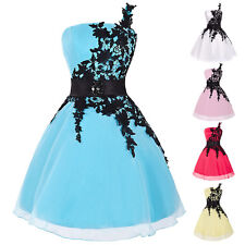 BLUE Short PROM Gown Wedding Bridsmaid Evening Party Ball Dress Size 10 12 14 16