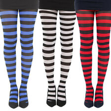 Striped Opaque Tights Rockabilly Punk Gothic Stripes Costume