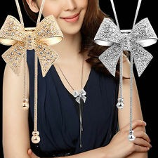 1xCY Elegant Sweet Crystal Rhinestone Bow Bowtie Pendant Necklace Sweater Chain