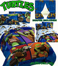 TEENAGE MUTANT NINJA TURTLES Boys TWIN/FULL Size Blue COMFORTER+SHEETS+DRAPES