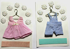 New Baby Boy or Girl Clothes Hanging Fabric Card Making Embellishment Toppers