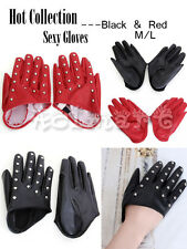 Women Sexy Rivets Half palm Five Finger Gloves PU Leather Black/Red Sz M/L