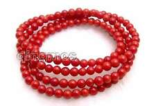 "SALE Beautiful! Small Round 5-6mm red coral 30"" bracelet/Necklace-bra298"
