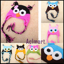 Handmade Baby Toddler Boy Girl Crochet OWL Beanies Hat Knit Chullo Cap Photos