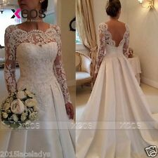 2015 White Lace Wedding Dress Off Shoulder Full sleeve Bridal Gown Plus Size