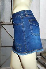 MECCA GIRL Denim Zipper Pockets Embroidered Denim Blue Color Girls Mini-Skirt