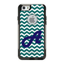 Monogram OtterBox Commuter for iPhone 5S 6 6S Plus Teal Chevron Blue Initial