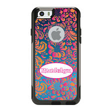 Monogram OtterBox Commuter for iPhone 5S 6 6S Plus Pink Orange Damask Oval