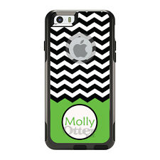 Monogram OtterBox Commuter for iPhone 5S 6 6S Plus Black White Chevron Green