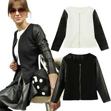 Long Sleeve Zipper Front Outerwear Faux Leather Coat Jacket Round Neck NEW L5QP