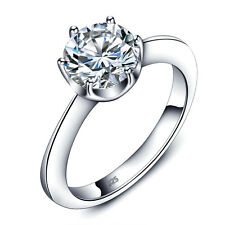 SOLITAIRE 925 CZ STERLING SILVER ENGAGMENT WEDDING RING WOMEN'S SIZE 6 -8 SS2031