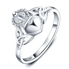 CROWN HEART 925 STERLING SILVER FASHION WEDDING RING BAND GIFT SIZE 6,7,8 SS2033
