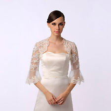 Ivory Lace Bridal Jacket Bolero Coat Wedding Dress Wrap Trumpet Sleeves S/M/L/XL