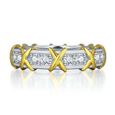 ETERNITY BAND 925 CZ STERLING SILVER ENGAGEMENT RING WEDDING GOLD SZ 6-8 SS2053