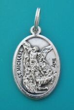 St MICHAEL Archangel Medal, Clip on Charm OR Pendant / Mini Keyring Silver Saint