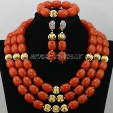 Multi Color Coral Beads Jewelry Sets,African Gold Plated Coral Beads Necklaces