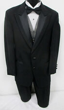 Black Perry Ellis Two Button Peak Tuxedo Package Wedding Prom Formal Mason
