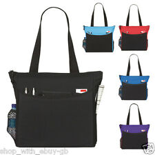 SHOULDER TOTE BAG FOR SCHOOL COLLEGE WORK SHOPPING - IN BLACK RED BLUE & PURPLE