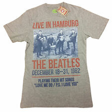 The Beatles Live in Hamburg Distressed Print Poster White/Grey OFFICIAL T-Shirt