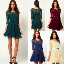 Trendy Floral Lace Half Sleeve Women's Dress Pleats Stretch Removable Belt New